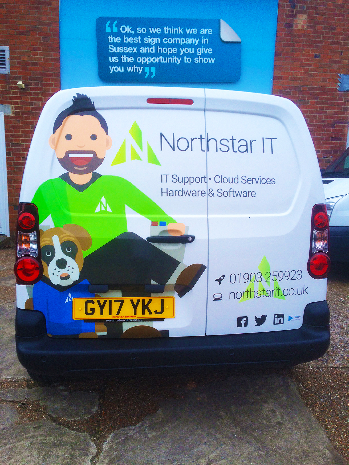 Rear view of Northstar IT van graphics