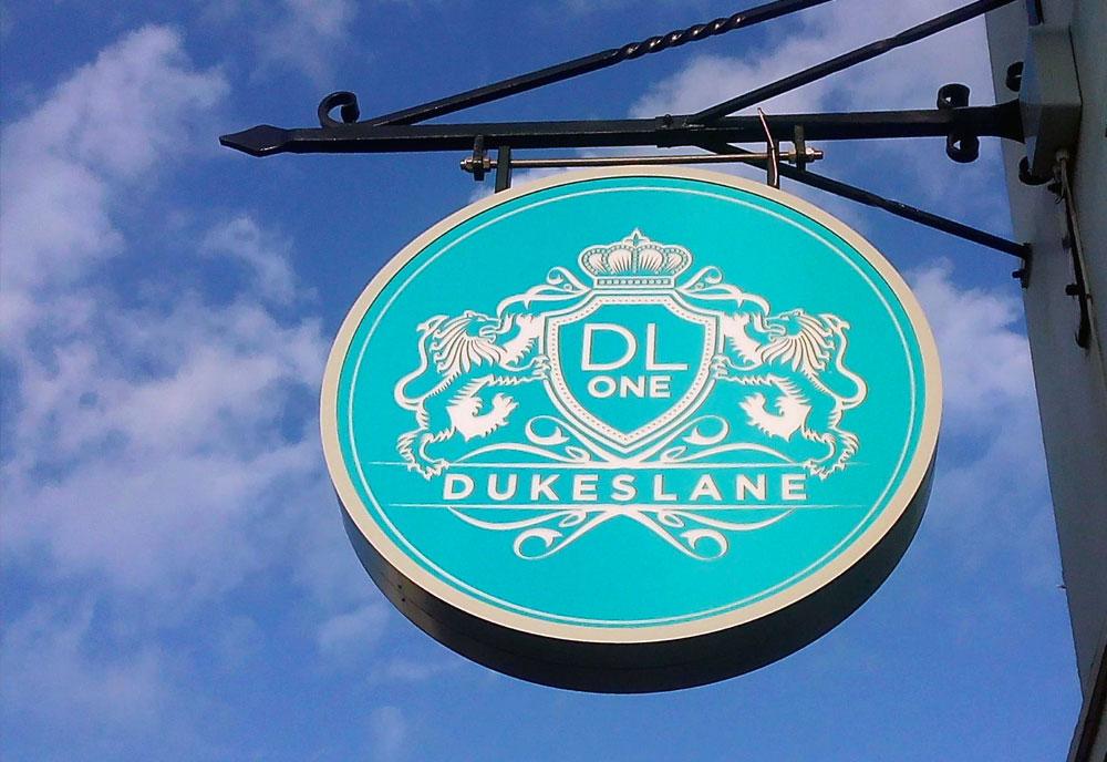 Dukes Lane hanging sign
