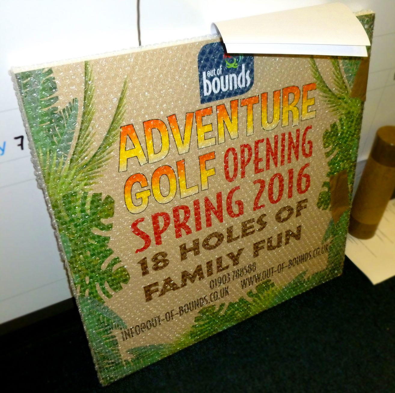 Adventure Golf sign Out of Bounds