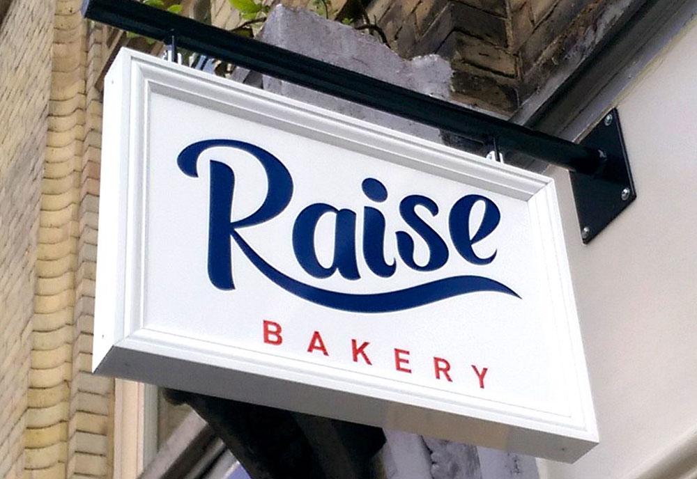 Hanging sign Raise bakery