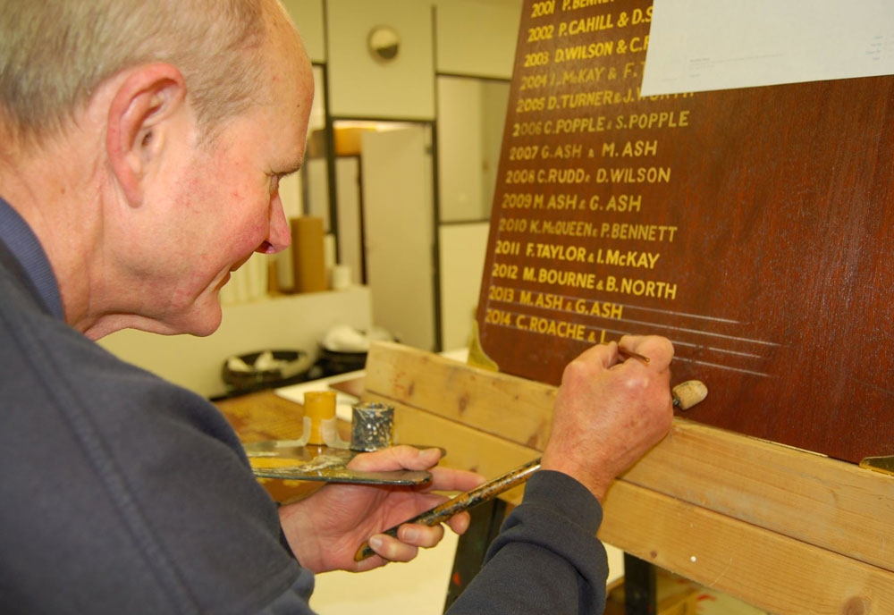 Traditional signwriting goldleaf