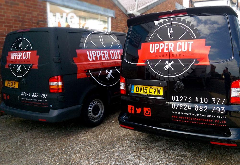 Upper Cut Carpentry van wrap rear